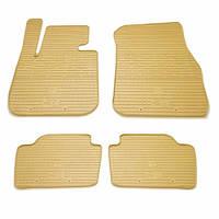 Комплект резиновых ковриков в салон автомобиля BMW 3 (F30) бежевые (2027134)