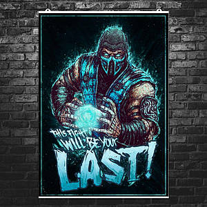 "Постер ""Mortal Kombat. Сабзиро, Sub-Zero"". Мортал Комбат. Размер 60x42см (A2). Глянцевая бумага"