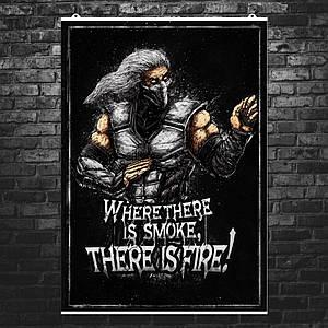 "Постер ""Mortal Kombat. Смоук, Smoke"". Мортал Комбат. Размер 60x42см (A2). Глянцевая бумага"