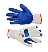 Перчатки, х/б, крупное плетение, текстурный утолщенный латекс, L-XL Technics 16-202 | Рукавички, б/ п, крупне
