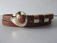 """Ремень женский коричневый(кож.зам, 10 мм.) №М18312 """"Remen"""" LM-638"""