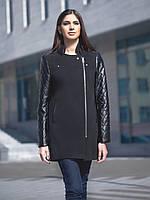 Утеплённое чёрное пальто с кожаными рукавами и молнией из кашемира
