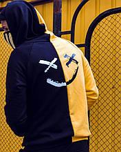 Двуцветный худи Be Happy черно-желтое