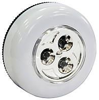 Ліхтар світлодіодний круглий 65мм 3 світлодіоди Sunday 73-630 | фонарь светодиодный