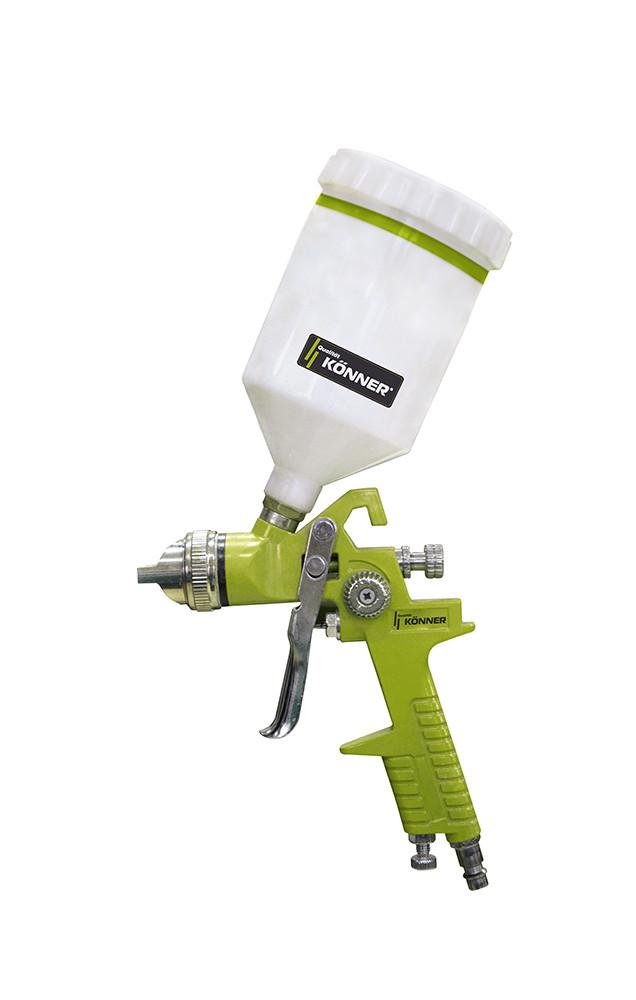 Фарбопульт пневматичний HVLP з верхнім бачком 125мл 0,8мм Konner 52-712 | пистолет, краскопульт, распылитель