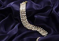 Роскошный свадебный  женский браслет  с камнями.