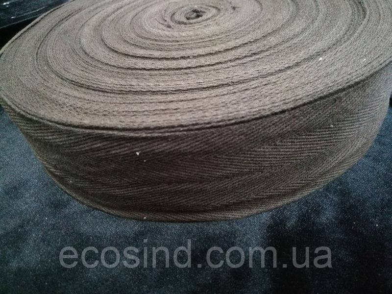 4 см Киперная лента (хлопчатобумажная, шоколад) - 50м. (653-Т-0517)