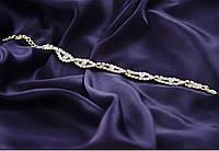 Тонкий изящный свадебный браслет с камнями.