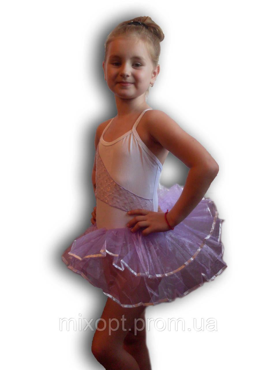 Купальник - пачка для гимнастики и танцев. Белый. Rivage Line 0220B