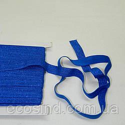 Трикотажная косая бейка с люрексом (эластичная, стрейч) 1,5см х 25ярдов (электрик) (653-Т-0443)