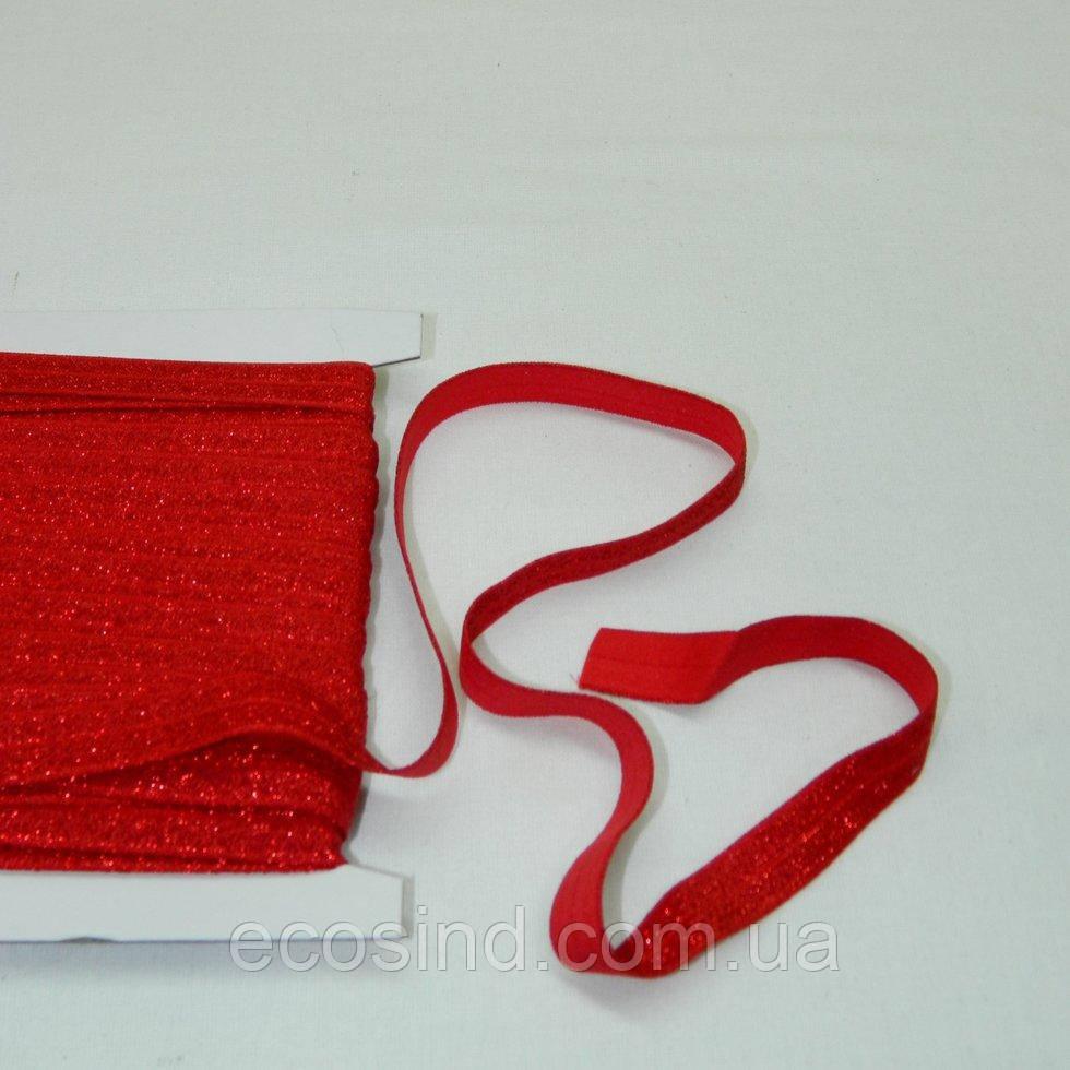 Трикотажная окантовочная бейка с люрексом (эластичная, стрейч) 1,5см х 25ярдов (красная) (653-Т-0444)