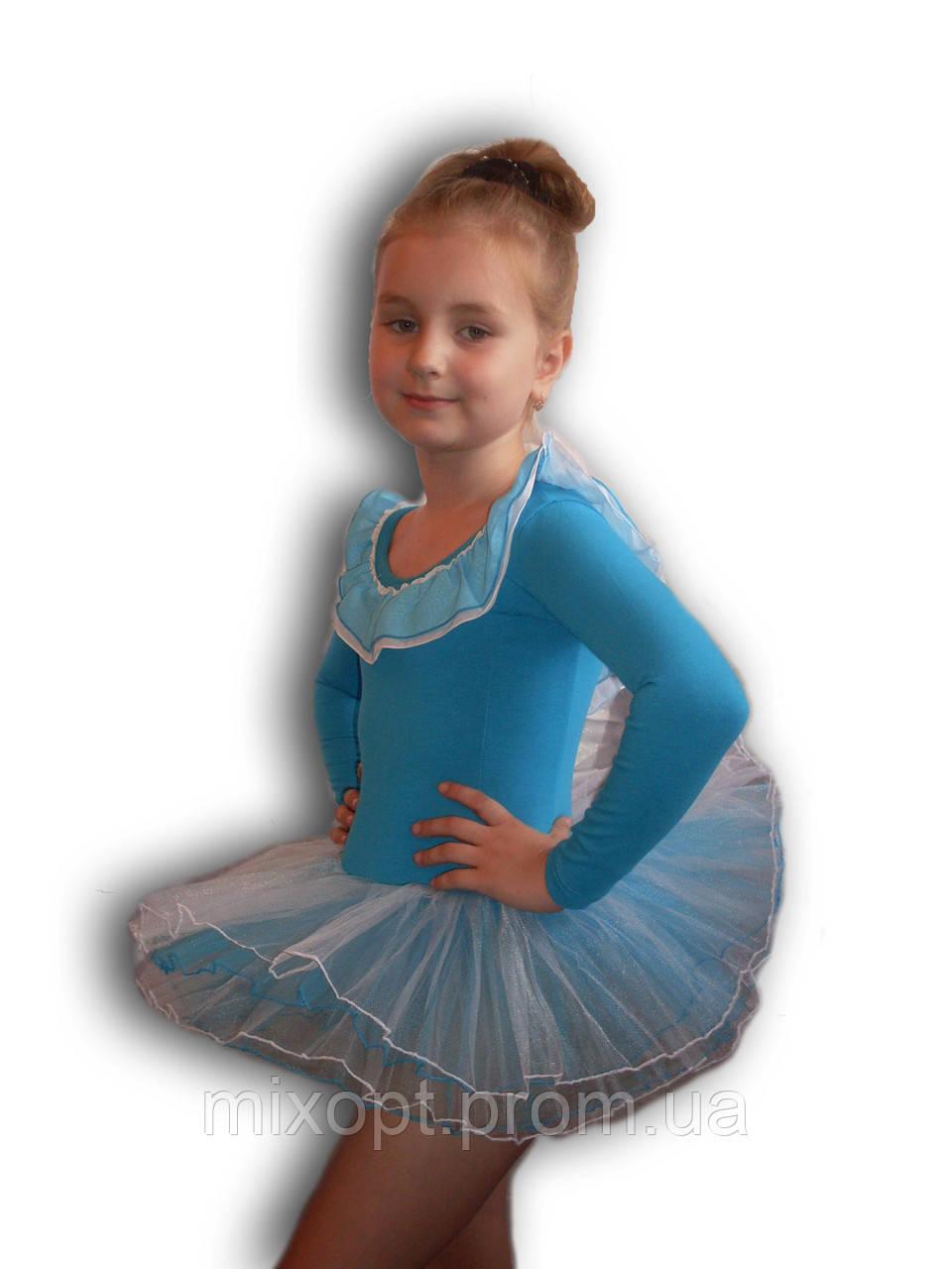 Купальник - пачка для гимнастики и танцев. Голубой. Rivage Line 0184LB