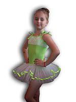 Купальник - пачка для гимнастики и танцев. Салатовый. Rivage Line 0215В