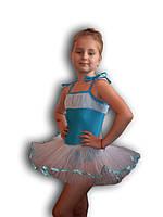 Купальник - пачка для гимнастики и танцев. Голубой. Rivage Line 0215В