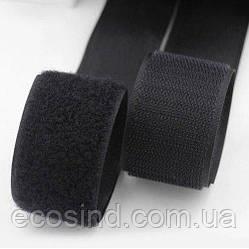 На метраж Черная 2см. текстильная застёжка(липучка, лента Velcro) отрез кратно 1м. (653-Т-0122)