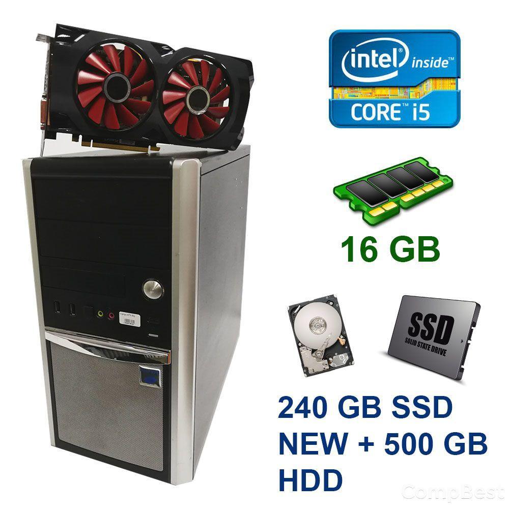 Euro Com / Intel Core i5-4570 (4 ядра по 3.2 - 3.6 GHz) / 16 GB DDR3 / 240 GB SSD NEW+500 GB HDD / AMD Radeon RX 470, 8 GB GDDR5, 256bit / Блок