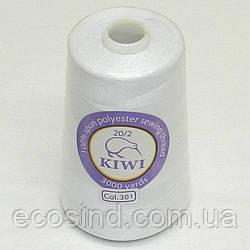 Армированные Kiwi (киви) нитки 20/23000 ярдов, белые (339-Kiwi-005)