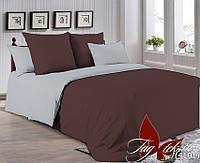 ✅ Двуспальный Евро комплект однотонного постельного белья (Поплин) TAG P-1317(4101)