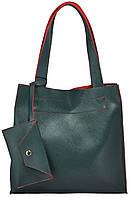 Женская сумка 35191 зеленая с красным