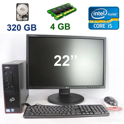 "Fujitsu C700 SFF / Intel Core i5-2400 (4 ядра по 3.1 - 3.4 GHz) / 4 GB RAM / 320 GB HDD + LG Flatron E2210T-SN / 22"" (1680x1050) LED, LCD, TFT / VGA,, фото 2"