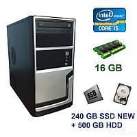 Hyundai Pentino Silver Tower / Intel Core i5-3450 (4 ядра по 3.1 - 3.5 GHz) / 16 GB DDR3 / 240 GB SSD NEW+500 GB HDD / AMD Radeon RX 560, 4 GB GDDR5,