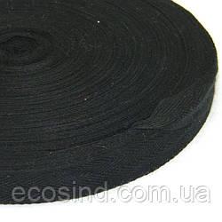 1 см Киперная лента (синтетическая, черная) - 46м. (653-Т-0506)