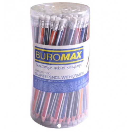 Олівці BUROMAX 8510-100 графітові з гумкою НВ тригранні 2 2мм туба (100)