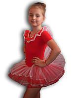 Купальник - пачка для гимнастики и танцев. Красный. Rivage Line 0184TB