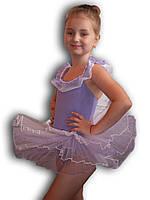 Купальник - пачка для гимнастики и танцев. Сиреневый. Rivage Line 0184B