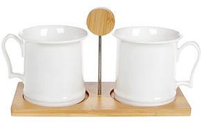 Набір (2шт) кухлів 400мл на бамбуковій підставці Naturel, 28см, 289-318