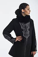 Пальто женское из итальянского  кашемира с камнями Сваровски черное  MМ-341
