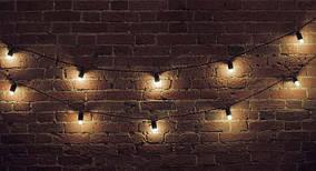 Ретро гирлянда черная 25 метров 51 лампа накаливания + защита от дождя IP-33 и монтажный трос в подарок
