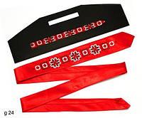 """Узкий галстук с вышивкой """"Белый на красном"""""""