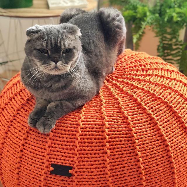 Пуфик из Трикотажной пряжи Bobilon Оранжевый апельсин сайт производителя bobilon.com.ua