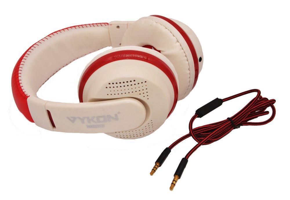 Накладные наушники Vykon MQ55 (белый,красный)