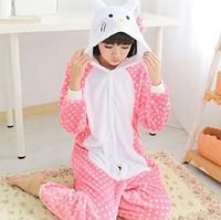 ✅ Детская пижама Кигуруми Hello Kitty в горошек 140 (на рост 138-148см)