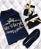Махровий халат з іменною вишивкою синій, фото 3