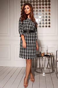 """Облегающее платье-букле в клетку """"Georgia"""" с четвертным рукавом (2 цвета)"""