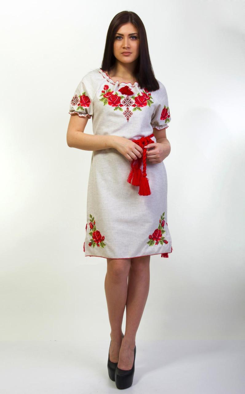 Модное женское вышитое гладью платье