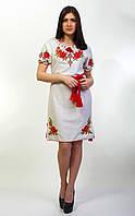 Модное женское вышитое гладью платье, фото 1