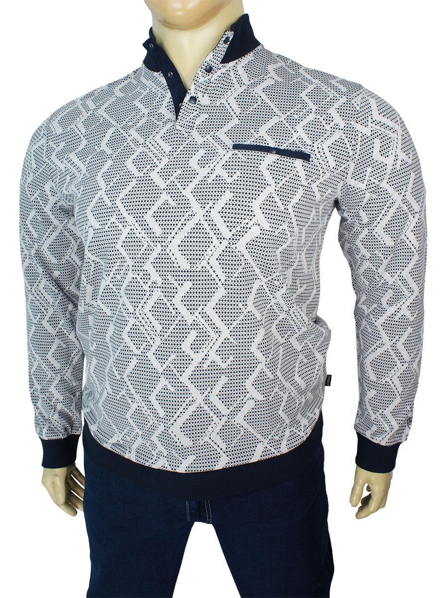 Оригинальный мужской свитер с воротником-стойкой Caporicco 9178 B Beyaz большого размера