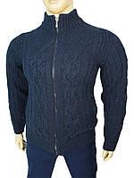 Теплая мужская кофта на змейке Pulltonik 230-454 Laci синего цвета в большом размере