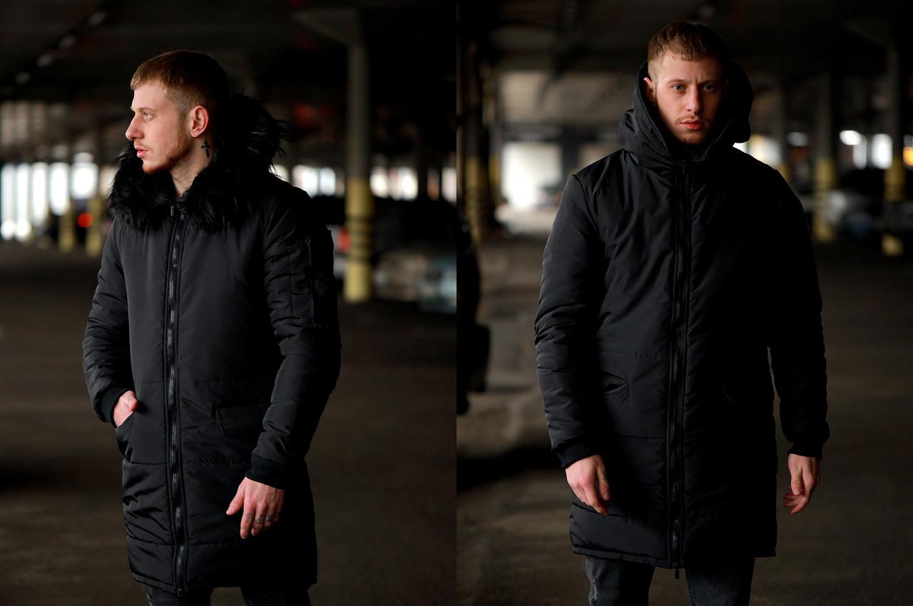 Чоловіча зимова чорна куртка Асос