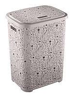 Корзина для белья пластик с рисунком - Elif Plastik Ажур 67л, пудровый