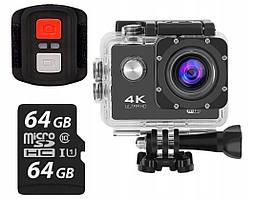 Спортивна камера 4K ULTRA HD WiFi PRO 64GB + пульт