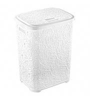Корзина для белья пластик с рисунком - Elif Plastik Ажур 67л, белая