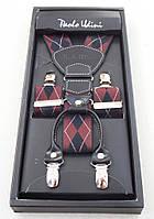 Подтяжки мужские Paolo Udini черно-бордовые, фото 1