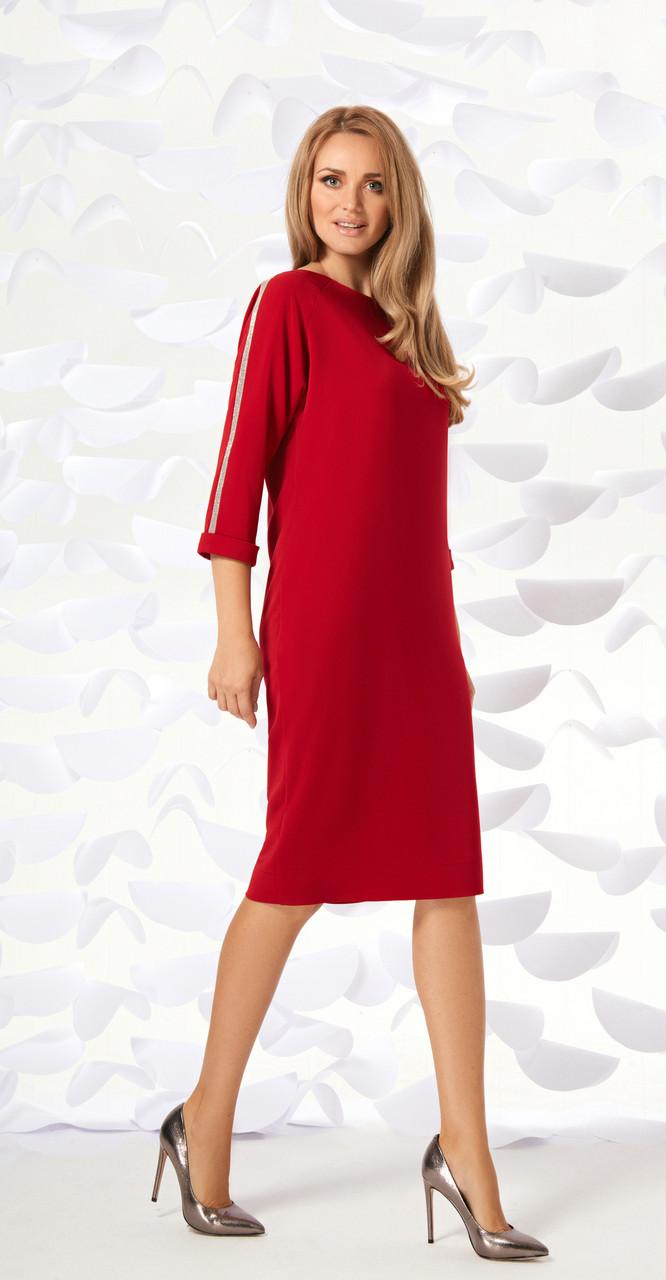 Платье Магия Моды-1596 белорусский трикотаж, красный, 52
