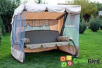 Садовые дачные качели 3-х местные РОНДО не раскладные с плетеным сидением, каркасом и москитной сеткой