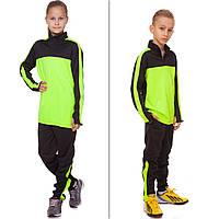Костюм спортивный детский (размер 26-32/рост 125-155 см, черно-салатовый)